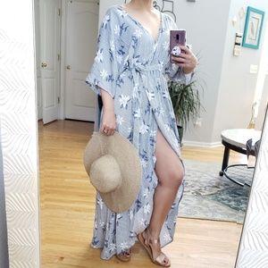 Listicle Harper Kimono Wrap Dress Stripe Floral